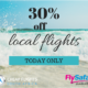 30% off local flights